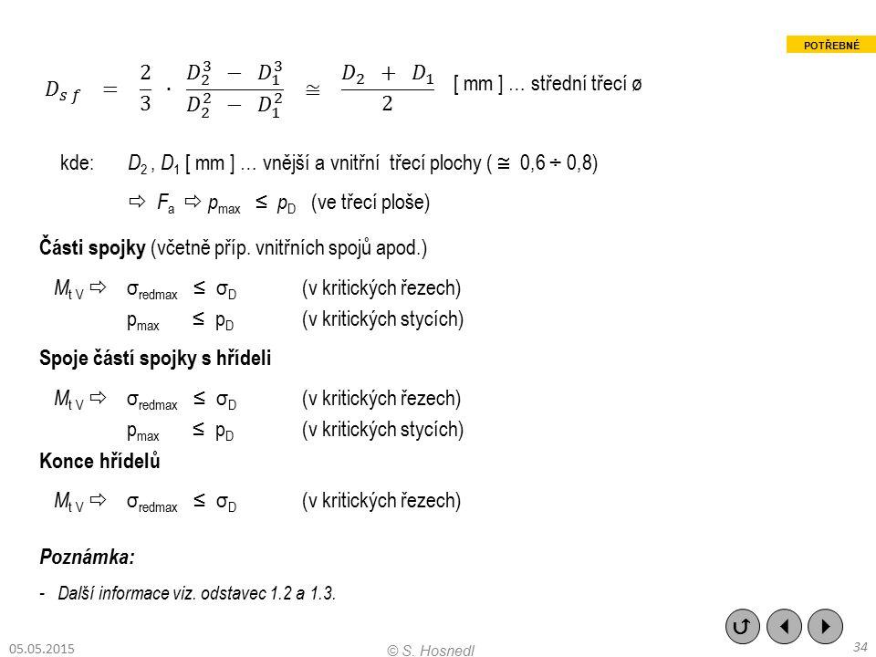 kde: D2 , D1 [ mm ] … vnější a vnitřní třecí plochy (  0,6 ÷ 0,8)